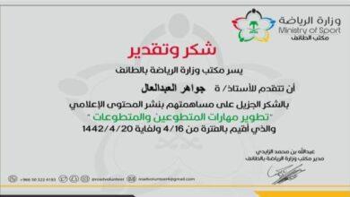 Photo of الدكتورة / جواهر العبد العال تتلقى شهادة شكر وتقدير من مكتب وزارة الرياضة بالطائف