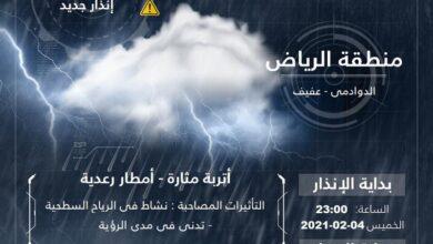 """Photo of 8 مناطق بمرمى تنبيهات """"الأرصاد"""": أمطار غزيرة وسيول وتساقط للبرد وتدنٍ للرؤية"""